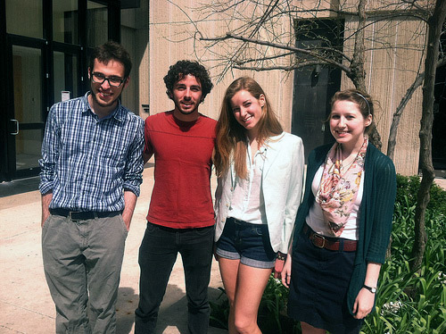 The University of Chicago group who helped research this story. From left to right: Jonathan Katz, Lee Kuhn, Maura Connors, and Hannah Loftus. (WBEZ/Jennifer Brandel)