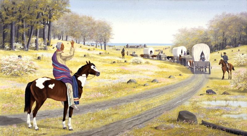 In this painting by artist Les Schrader, Potawatomi Chief Aptakisic says goodbye to Naperville settlers after escorting them to Fort Dearborn in Chicago during the Black Hawk War of 1832. (Courtesy of the Naperville Heritage Society)