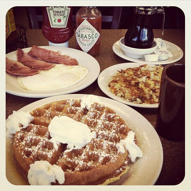The waffle combo meal from Chicago's Cozy Corner Restaurant. (WBEZ/Louisa Chu)