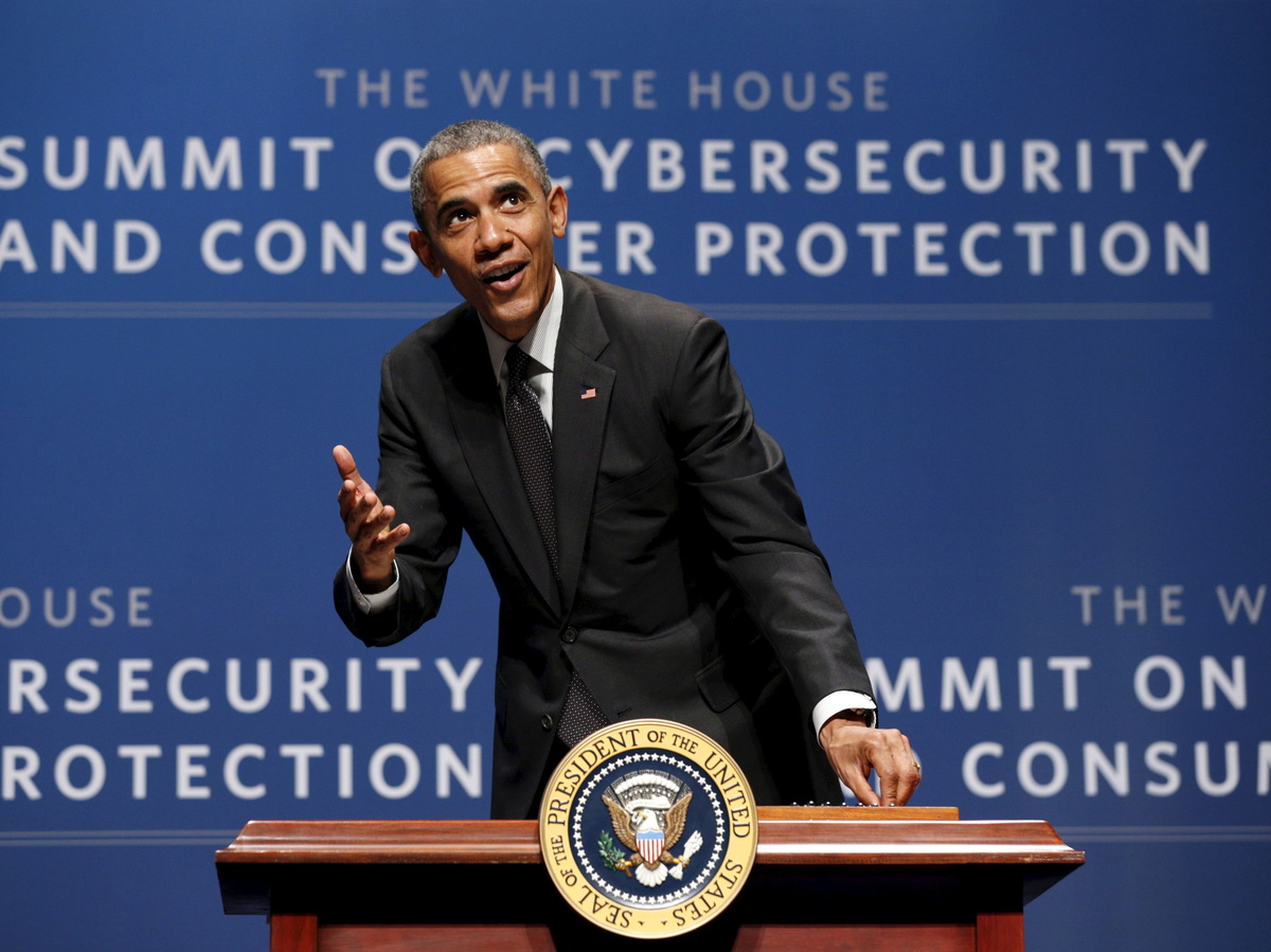 "President Obama, seen at a cybersecurity summit in Palo Alto, Calif., in February. The White House has called the Cybersecurity Information Sharing Act an ""important building block."" (Kevin Lamarque/Reuters/Landov)"