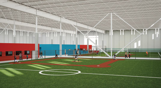 The rec center's 135,000 sq. ft. includes artificial turf for baseball, soccer and even lacrosse and rugby. (Photo courtesy of CNI)