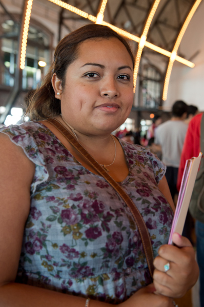 Yulizma Mendoza, 27, arrived at 2:30am to wait for a workshop on preparing her application for deferred deportation at Chicago's Navy Pier on Wednesday, August 15, 2012. (WBEZ/Peter Holderness)
