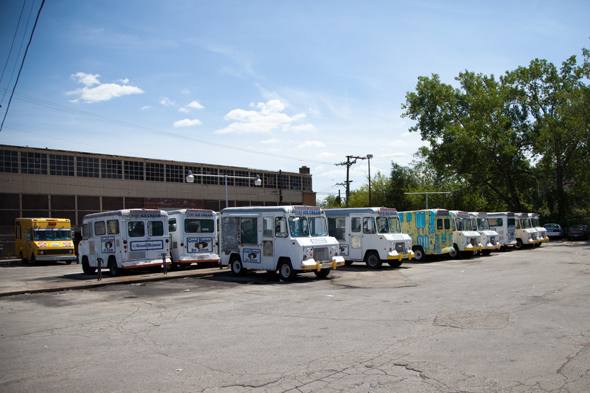 Some of the trucks in the Pars fleet. (WBEZ/Shawn Allee)