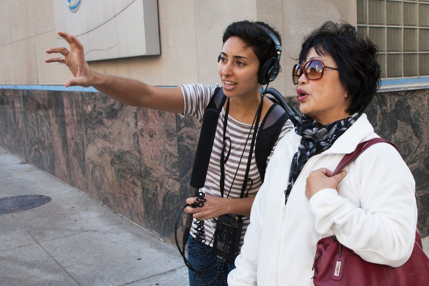 WBEZ's Odette Yousef (left) and Susan Lee Moy, historian of Chicago's Chinatown. (WBEZ/Shawn Allee)