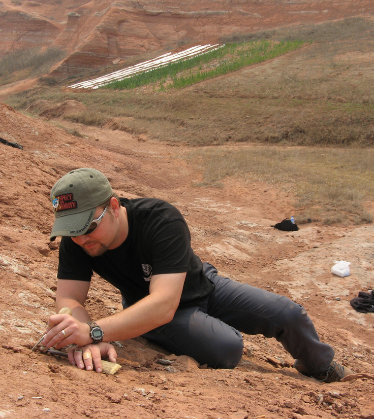 Peter Makovicky digging for dinosaur fossils. (Field Museum)