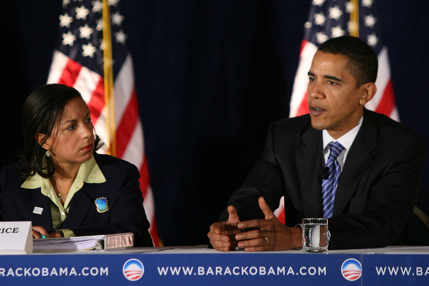 Susan Rice and Barack Obama during his first campaign; Rice was one of Obama's earliest backers. (AP)