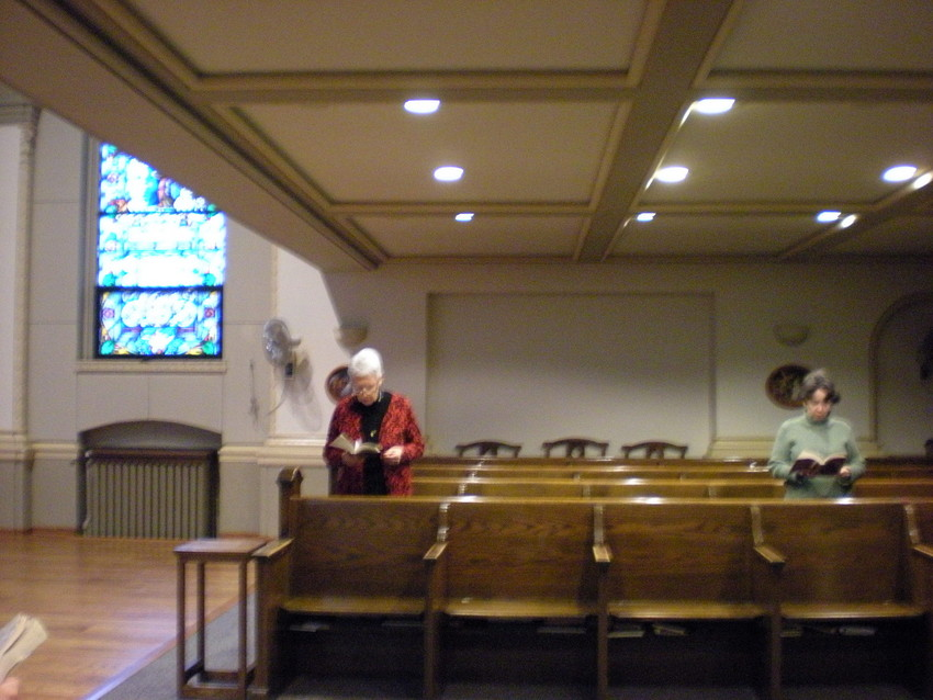 Sister Patricia Crowley at prayers at St. Scholastica. (Photo by Judy Valente)