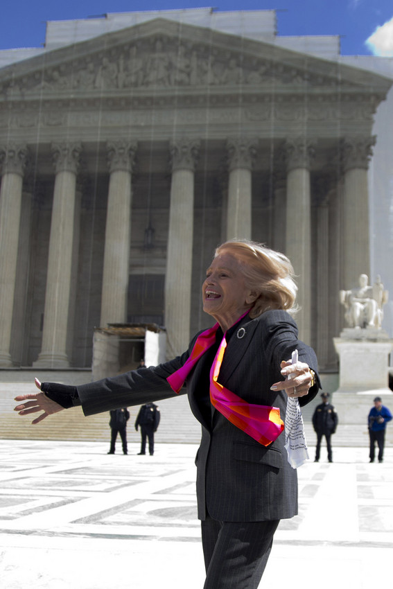 Edie Windsor, the plaintiff in DOMA, outside the Supreme Court (AP)