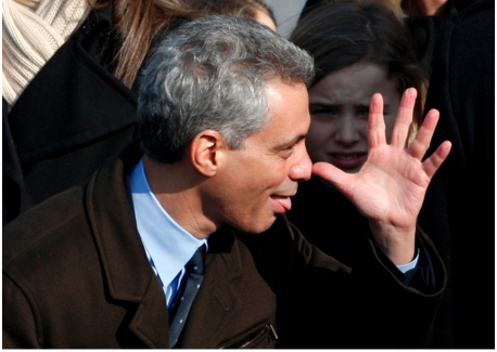 The mayor reacts to ethics charges about Lollapalooza throwing him a fundraiser (WBEZ file).