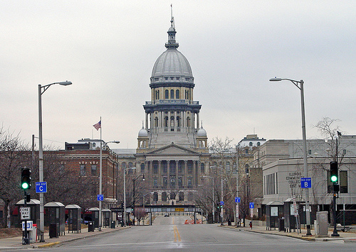 The Illinois Statehouse in Springfield will be the site of many pension battles to come. (Flickr/Randy von Liski)
