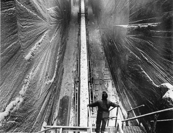 The salt mine underneath Detroit stretches more than 300 acres. (Reuther Library/Tony Spina)