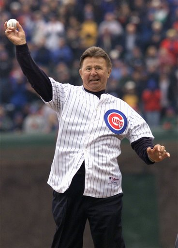 Ron Santo throws out the first pitch at Wrigley Field on April15, 2002. (AP/Ted S. Warren)