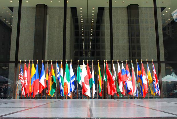 Flags representing Chicago's sister cities on display at Daley Plaza in 2013. (Flickr/Daniel X. O'Neil)