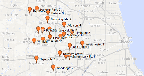 Map of 2013 heroin deaths by community in DuPage County. Click to view larger map.