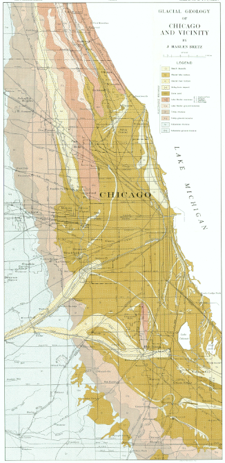 Surficial geology map of the Chicago region. Click to enlarge. (Courtesy USDA Natural Resources Conservation Service)