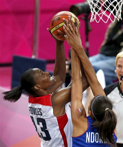Sylvia Fowles in the gold medal game versus France. (AP/Julio Cortez)