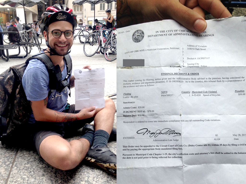 Michael Gilewicz got a $70 ticket at the intersection of Addison and Clark streets and carries it around with him. (WBEZ/John Fecile)