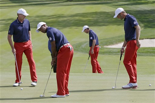 The American Ryder Cup team prepares for the weekend competition at Medinah.(AP/Photo David Phillips)