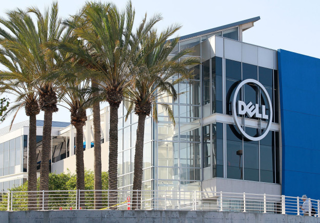 The Dell logo is displayed on the exterior of the new Dell research and development facility on October 19, 2011 in Santa Clara, California. (Justin Sullivan/Getty Images)