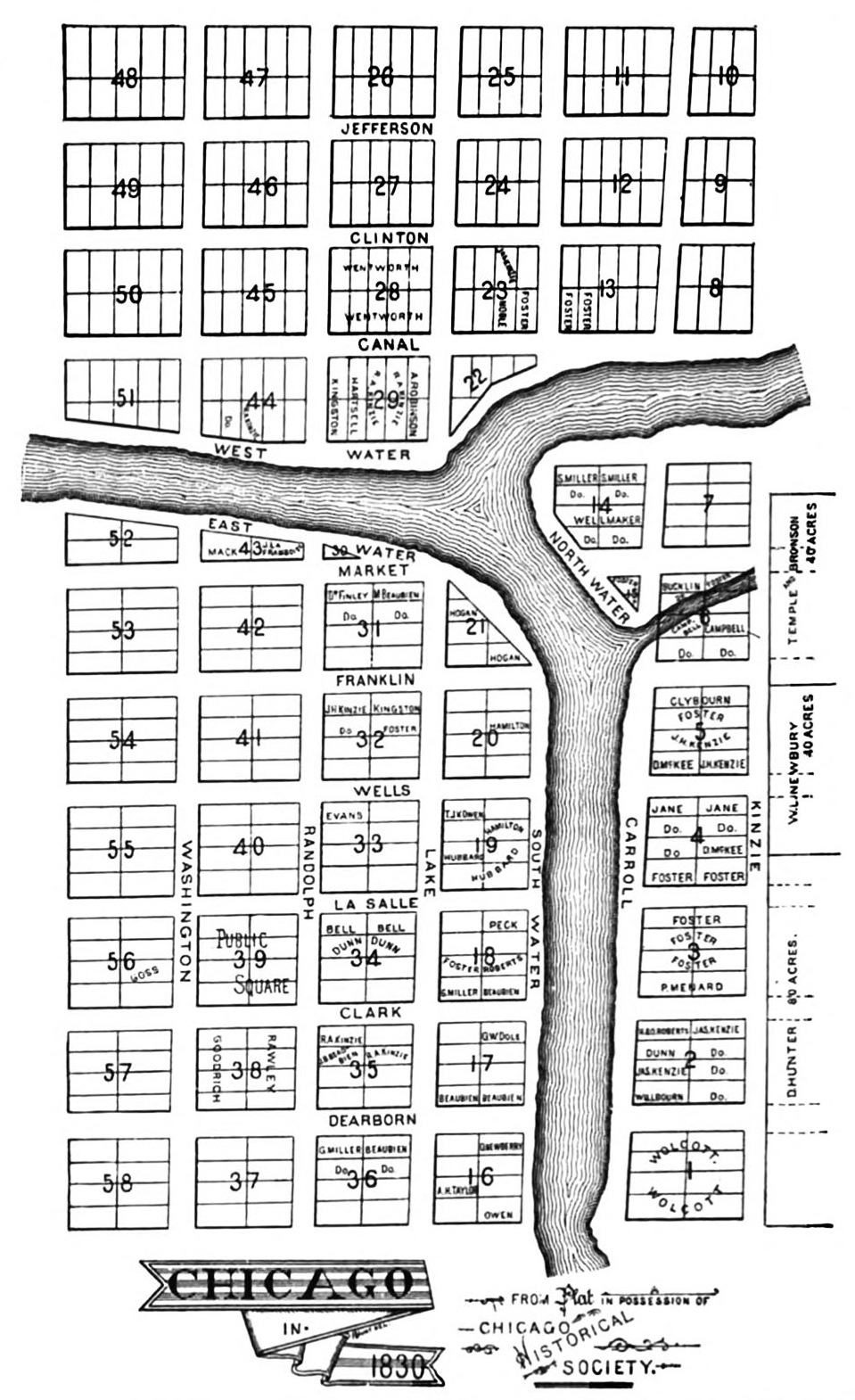 James Thompson's plat map of Chicago, 1830. (Wikimedia Commons)
