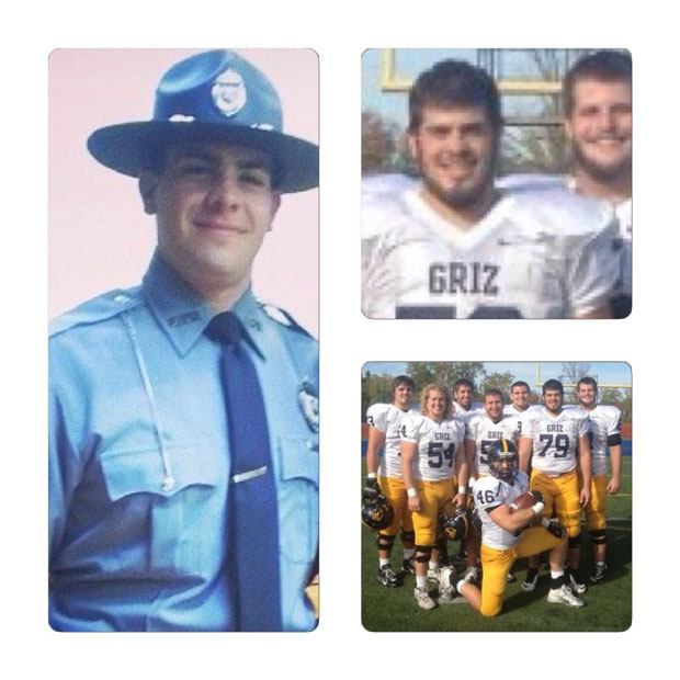 Merrillville Police Officer Nickolaus Schultz is shown in his police uniform and as a member of the Grizzlies football team for Franklin College in Franklin, Indiana. (Photo provided by the Merrillville Police Department)