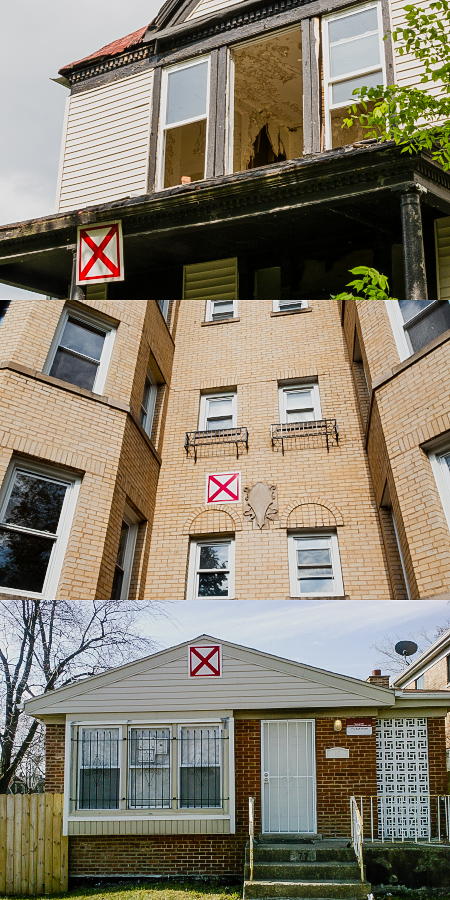 All three vacant buildings are marked with the red X, but display varying levels of disrepair. No signage indicates dangerous, structural disrepair. (WBEZ/Shawn Allee - Kathy Chaney)