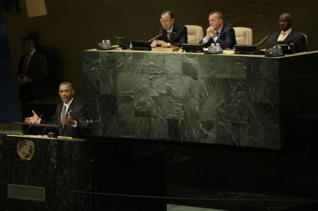 U.S. President Barack Obama delivers remarks at the United Nations Sustainable Development Summit September 27, 2015 at United Nations headquarters in New York City. (Peter Foley/Getty Images)
