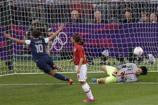 Carli Lloyd scores in the U.S. soccer win over Japan. (AP/Andrew Medichini)