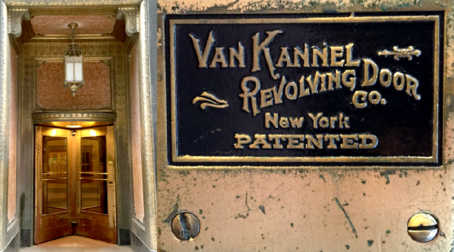 A Van Kannel revolving door installed at the Pittsfield Building at 55 East Washington. (WBEZ/Jennifer Masengarb)