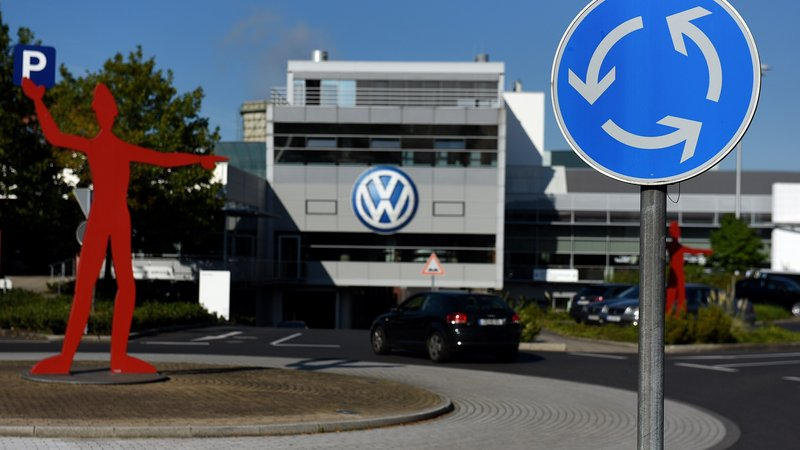 German carmaker Volkswagen says it has a plan to refit diesel cars that will make them comply with emissions standards. Here, the entrance to a VW branch in Duesseldorf, Germany, is seen on Monday. Patrik Stollarz/AFP/Getty Images