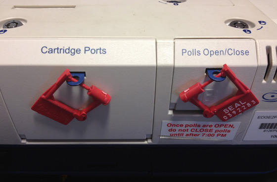 Tamper safeguards used on Chicago's electronic voting machines. (WBEZ/Logan Jaffe)