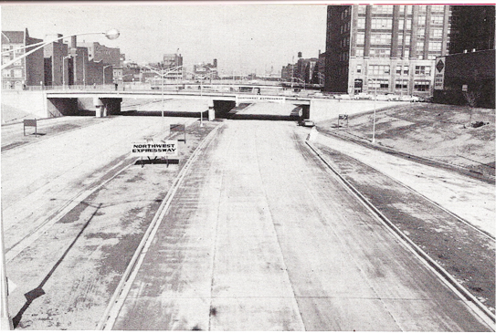 From downtown, a view of the building of the Northwest Expressway in the 1950s. In the 1960s it was renamed the Kennedy Expressway. (Courtesy of the Andrew Plummer Collection)