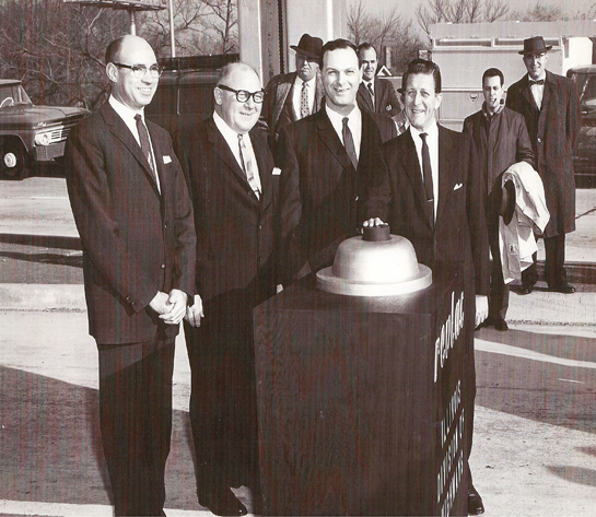 The opening of the reversible lanes on the Kennedy in the early 1960s. The man with the hand on the big button is Illinois' 33rd Governor, Otto Kerner, Jr. (Courtesy of the Andrew Plummer collection)
