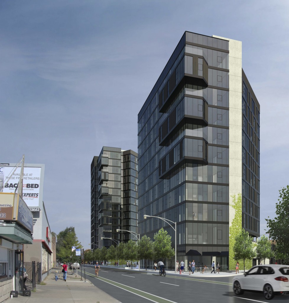 The towers would stand at 2293 N. Milwaukee Ave. within a few hundred feet of the California stop of the CTA's Blue Line. (Rendering courtesy of Wheeler Kearns Architects)