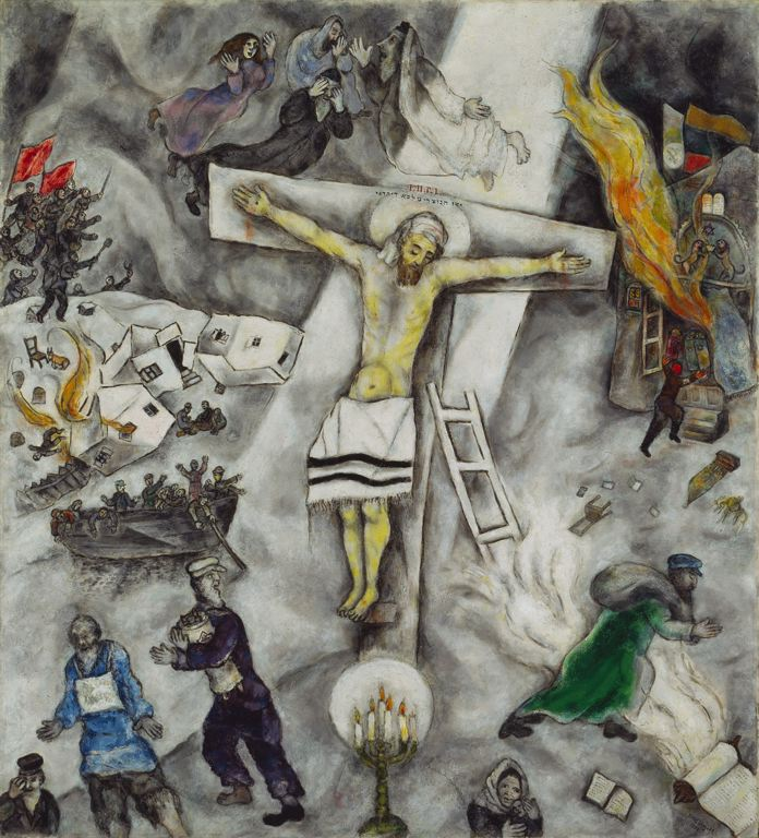 Marc Chagall's 1938 painting 'White Crucifixion' depicts a Jesus on the cross alongside other scenes of brutality against the Jews. (Artists Rights Society/ADAGP)