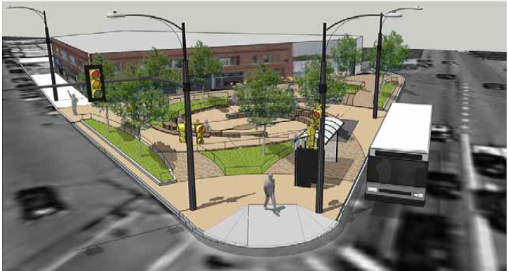Preliminary design for Woodard Plaza, at the intersection of Milwaukee, Kimball and Woodard avenues. (Courtesy Chicago Department of Transportation)