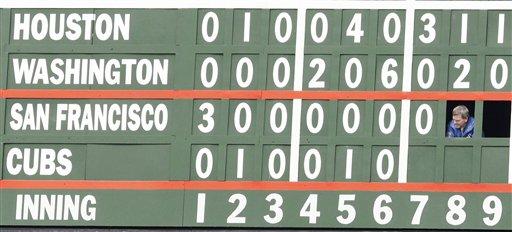 Wrigley Field manuel scoreboard was installed by the Veecks. (AP Photo/Charles Rex Arbogast)