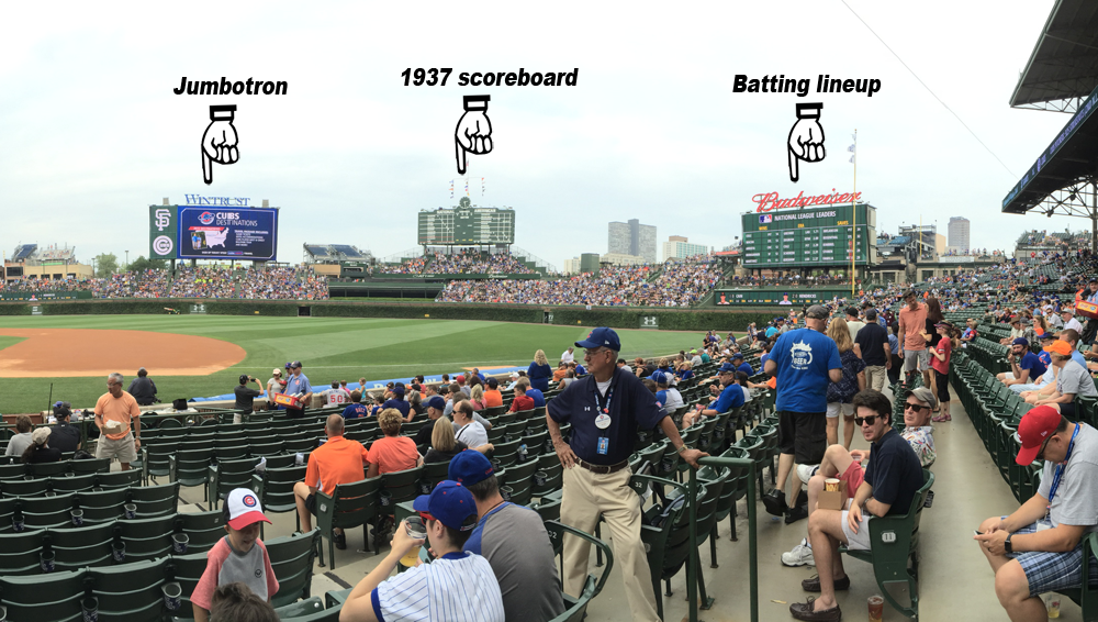 A panorama of Wrigley Field taken August 8, 2015, shows the three boards Cubs fan can use to follow the game. (Photo By TaylorSteiner (Own work) [CC0], via Wikimedia Commons)