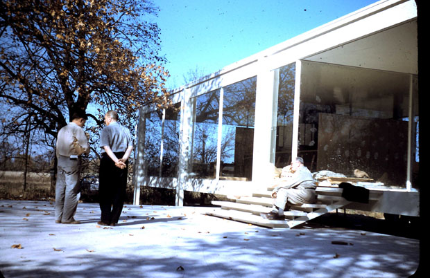 The late Chicago architect Y.C. Wong with Mies van der Rohe at the Farnsworth House in Plano, Ill. during its construction circa 1951. (Courtesy of Ernest C. Wong)