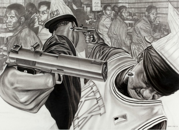 Your History II, James Pate, 2007 Civil rights activists as passive observers of contemporary gun violence. (Photo Andy Snow, courtesy EbonNia Gallery)