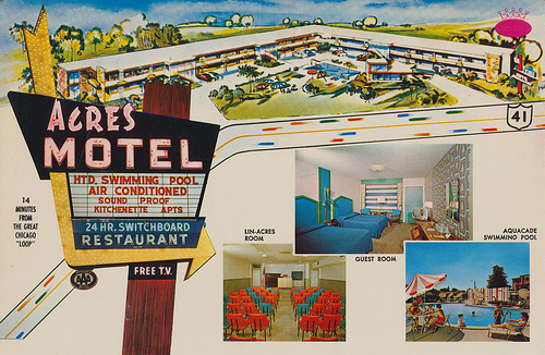A postcard from the Acres Motel, demolished in 2005. (Photo courtesy Patrick Steffes)