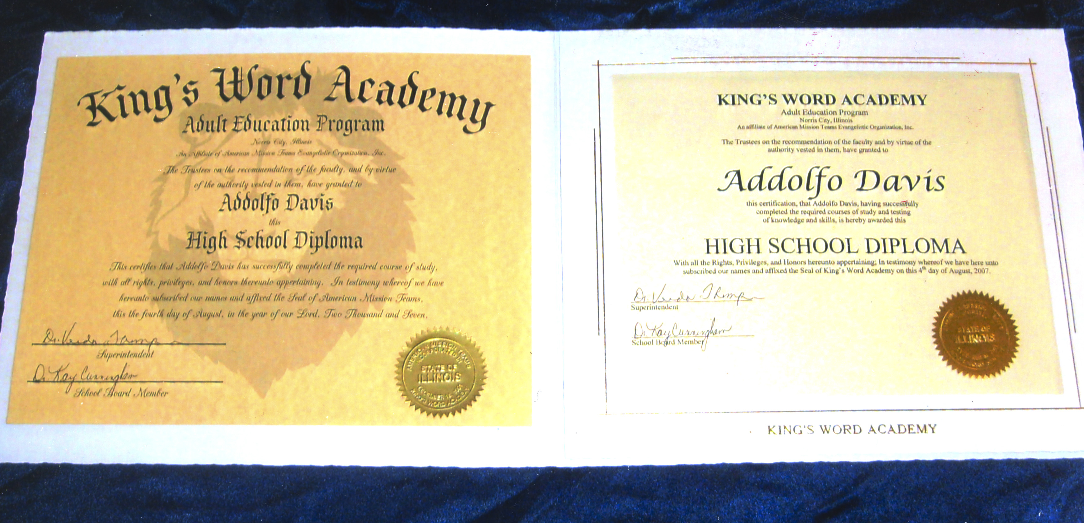 Adolfo Davis' high school diploma & other academic certificates
