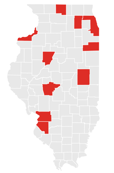 This map shows the 10 counties across Illinois with the highest number of juvenile parolees who are sent back to prison.