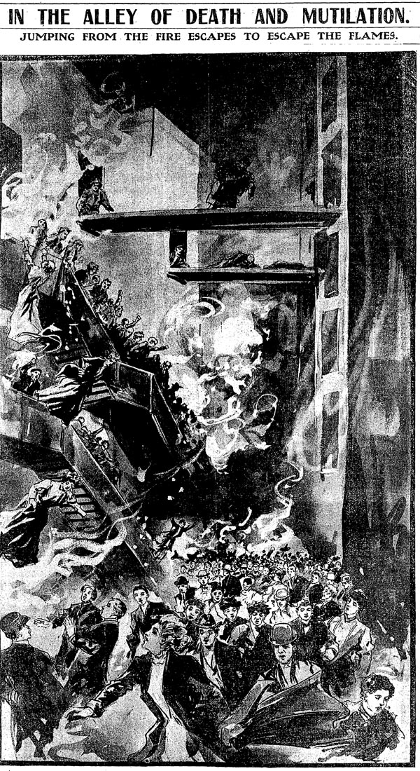 A Chicago Tribune illustration published December 31, 1903, the day after the Iroquois Theater fire, depicts the alley before the flames were extinguished.