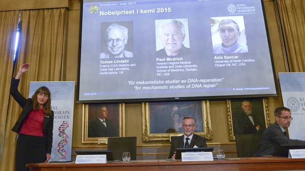 Professor Sara Snogerup Linse (left) explains the work that won the 2015 Nobel Prize in Chemistry, won by Sweden's Tomas Lindahl, American Paul Modrich and U.S.-Turkish scientist Aziz Sancar on Wednesday. The three worked on