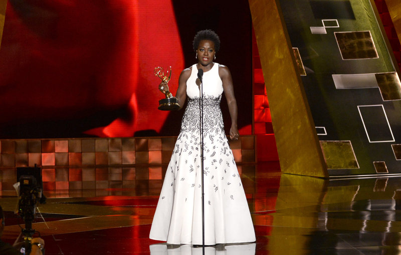 Viola Davis accepts the Emmy for outstanding lead actress in a drama series for How to Get Away With Murder at the 67th Primetime Emmy Awards on Sunday in Los Angeles. (Phil McCarten/Invision for the Television Academy)