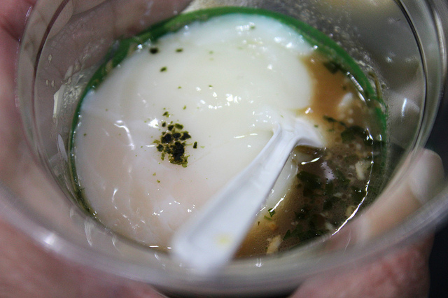 Slow poached egg, bacon ragout, bacon dashi, nori by Lockwood chef Joseph Rose in Chicago (WBEZ/Louisa Chu)