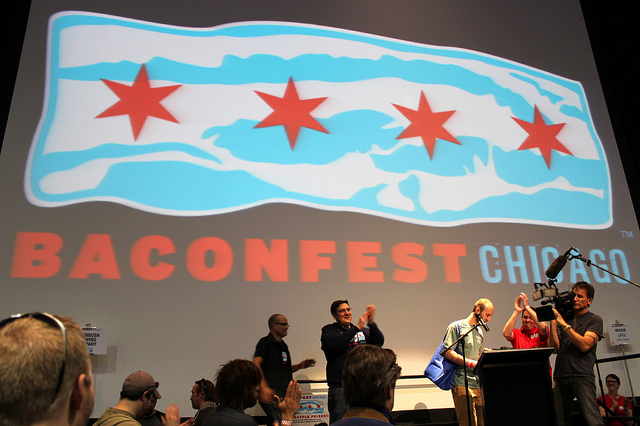 Baconfest Chicago 2013 bacon poetry reading by contest winner Steve Nordin (WBEZ/Louisa Chu)