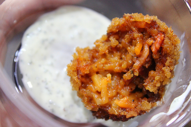 Tandoori bacon arancini and mint raita by Red Butter chef/owner Monica Sharma in Chicago (WBEZ/Louisa Chu)