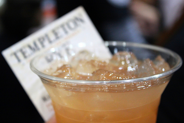 Blinker: Templeton Rye, grapefruit juice, raspberry syrup by Templeton Rye in Templeton, Iowa (WBEZ/Louisa Chu)